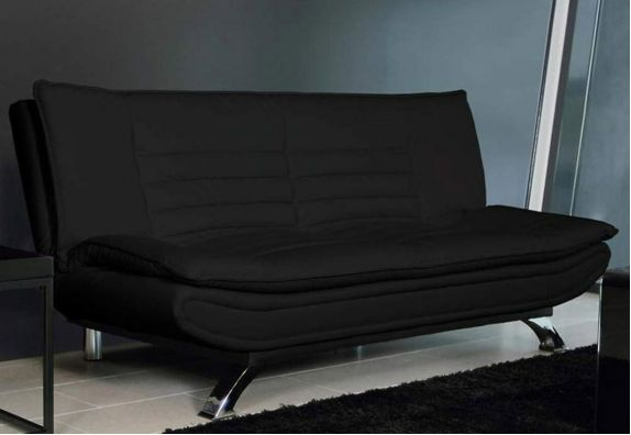 Black Aloy 3 Seater  Leatherette Sofa Cum Bed Set