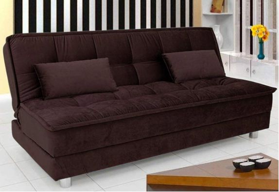 Brown Superon 3 Seater Fabric Sofa Cum Bed Set