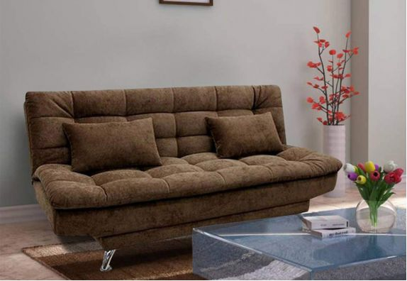 Brown Superstyle 3 Seater Fabric Sofa Cum Bed Set