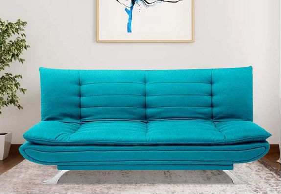 Aqua Blue Aloy 3 Seater Fabric Sofa Cum Bed Set