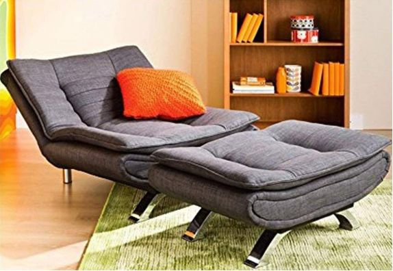 Grey Aloy 5 Seater Fabric Sofa Cum Bed Set with Extra Seat and Ottoman