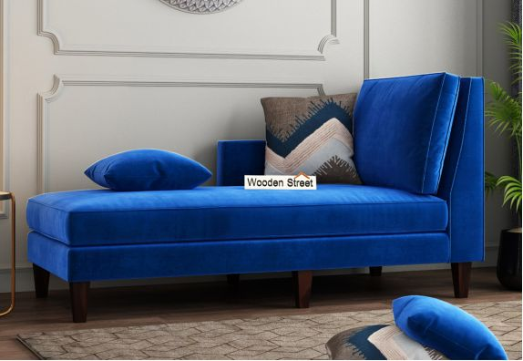 Bracus Chaise Lounge (Velvet, Indigo Blue)