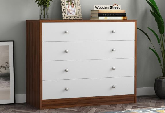 Gavin Chest of Drawer with Frosty White Drawer (Exotic Teak Finish)
