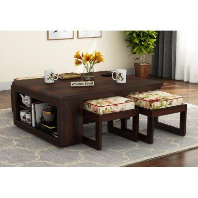 Vesta Coffee Table (Walnut Finish, Cream Blossom)