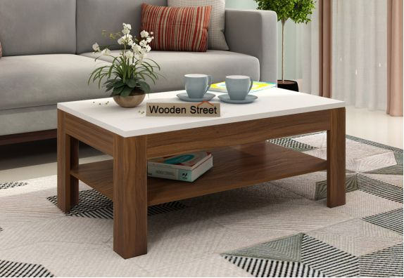 Beach Coffee Table with Frosty White Top (Exotic Teak Finish)