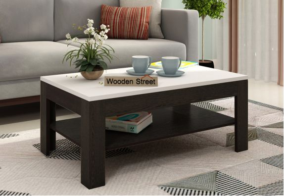 Beach Coffee Table with Frosty White Top (Flowery Wenge Finish)