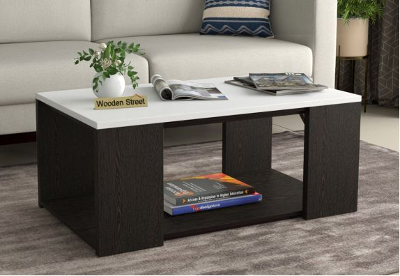 Kingston Coffee Table with Frosty White Top (Flowery Wenge Finish)