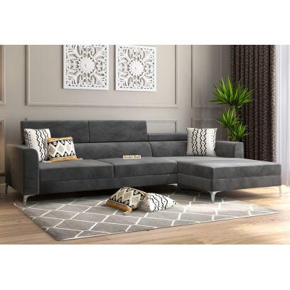 L Shape Sofa Set Fabric Finish with Metal Frame