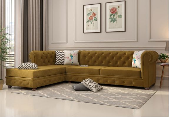 Velvet Finish Sofa Set in L Shape for Living Room