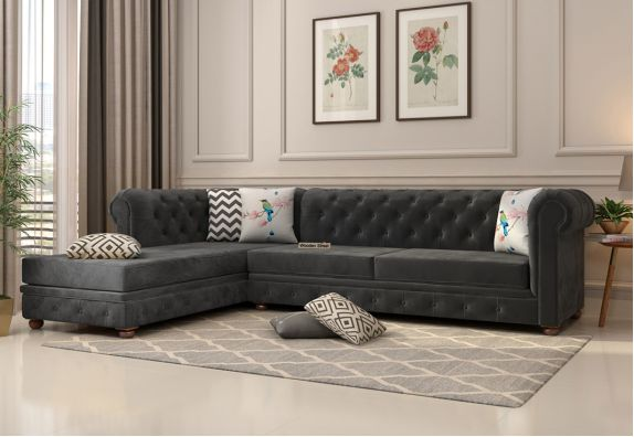 Buy Velvet L Shape Sofa Online in India at Discount Price