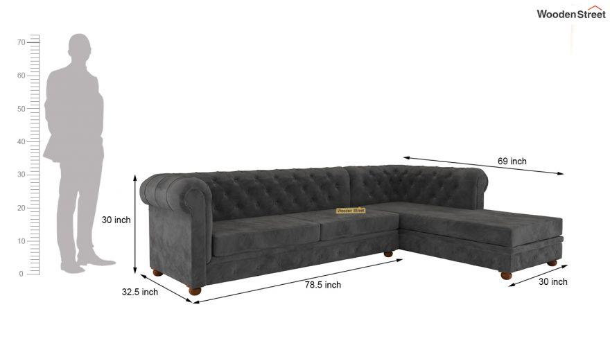 Shape Right Aligned Corner Sofa Velvet, What Size Is A Corner Sofa