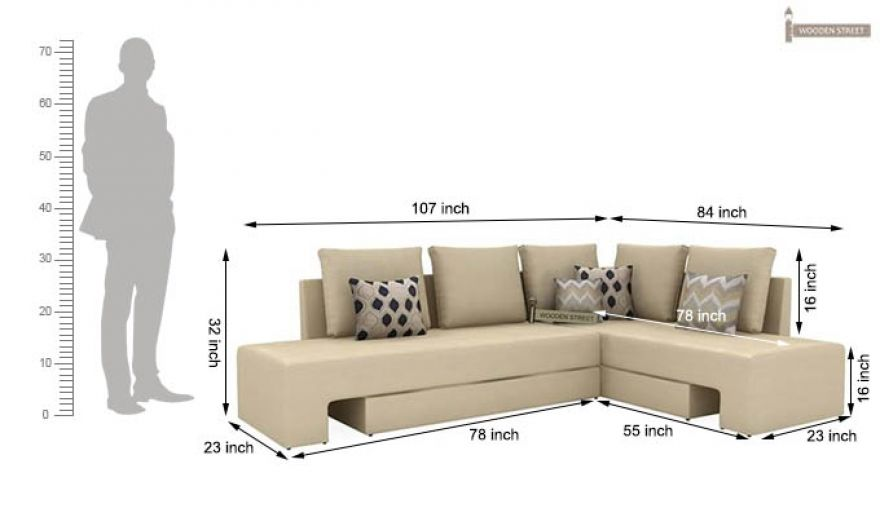 Corner Sofa Bed Ivory, What Size Is A Corner Sofa