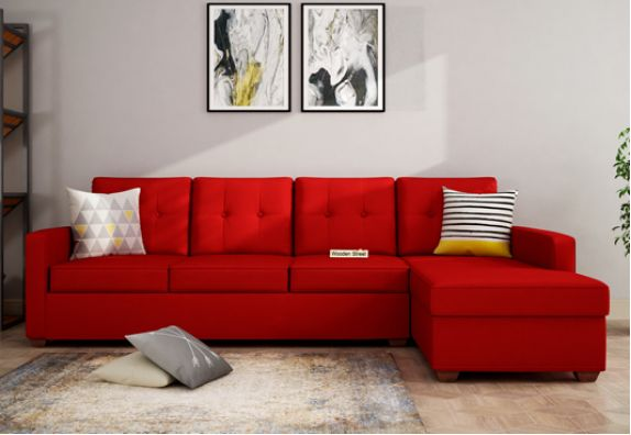 Red Large L Shape Right Aligned Sofa