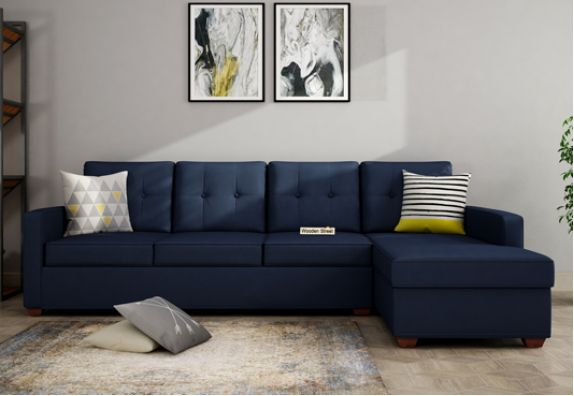 Right Aligned L Shape Fabric Sofa in Indigo Ink Color