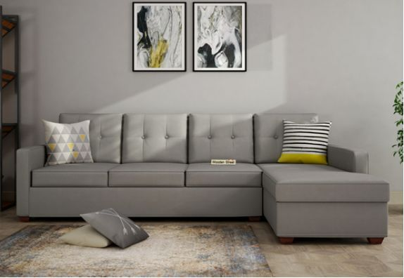 Living Room L Shaped Sofa in Grey Colour