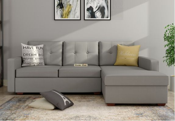 Nicolas L Shape Right Aligned Sofa (Warm Grey)