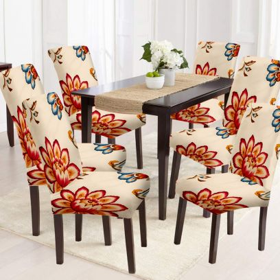 Off White and Orange Flower Printed Polyester and Spandex Elastic Chair Cover - Set of 6