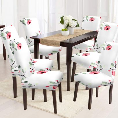 White Floral Print Polyester and Spandex Elastic Chair Cover - Set of 6
