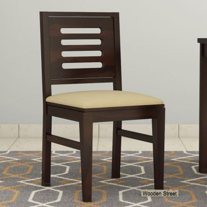 Helina Dining Chair With Fabric (Walnut Finish)