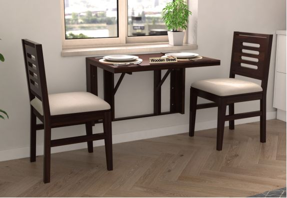 Benz Wall Mount 2 Seater Foldable Dining Set (Walnut Finish)