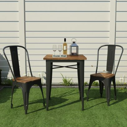 Cora Metal Outdoor 2 Seater Dining Set (Black)