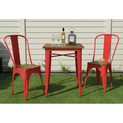 Cora Metal Outdoor 2 Seater Dining Set (Red)