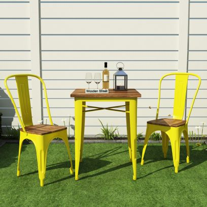 Cora Metal Outdoor 2 Seater Dining Set (Yellow)