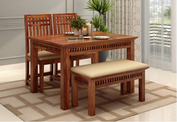 wooden 4 seater dining table set price in bangalore