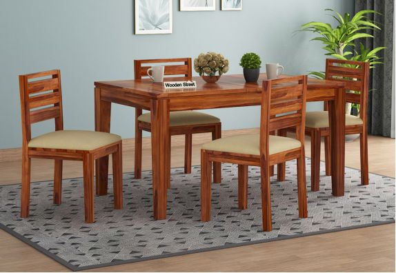 folding dining table online: solid wood extendable 4 seater dining table set in Mumbai