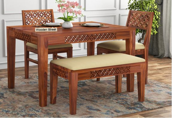 Cambrey Compact 4 Seater Dining Set with Bench (Honey Finish)