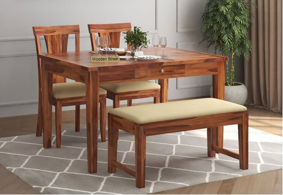 Mcbeth Compact 4 Seater Dining Set with Bench (Honey Finish)