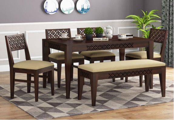 Cambrey 6 Seater Cushioned Dining Set With Bench (Walnut Finish)