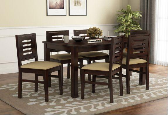 Janet Cushioned 6 Seater Dining Table Set (Walnut Finish)