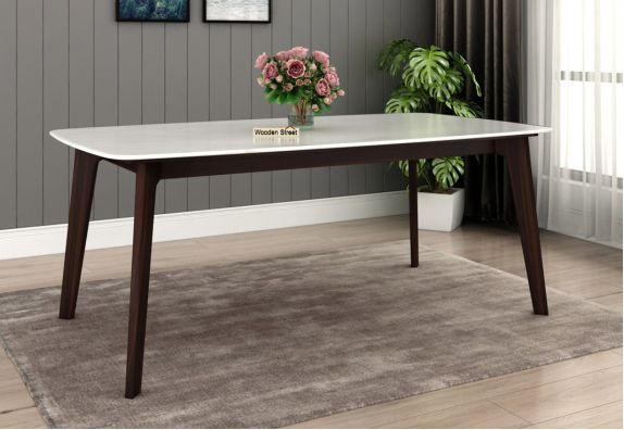 Amoha Norma Marble Top Dining Table Dining Table (Walnut Finish)