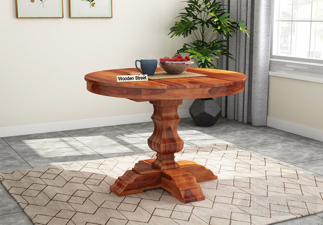 Buy Clark Round 4 Seater Dining Table Honey Finish Online In India Wooden Street
