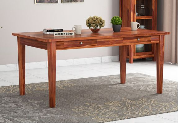 Mcbeth 6 Seater Dining Table With Storage (Honey Finish)