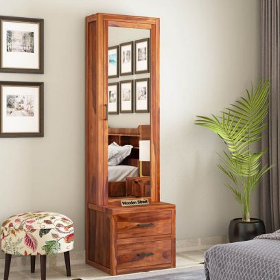 wooden dressing table designs with long mirror