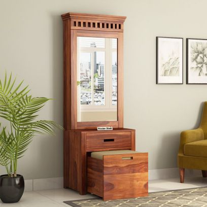 wooden dressing table online with drawer and stool