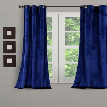 Blue Velvet Premium Eyelet Window Curtain