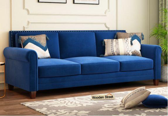 Aldean 3 Seater Fabric Sofa (Indigo Blue)