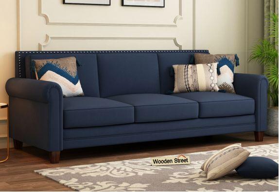 Aldean 3 Seater Fabric Sofa (Indigo Ink)