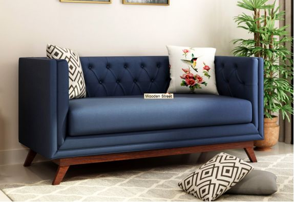 Berlin 2 Seater Fabric Sofa (Indigo Ink)