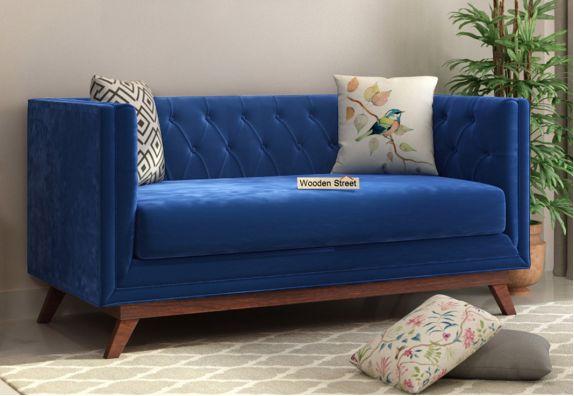 Berlin 2 Seater Sofa (Velvet, Indigo Blue)