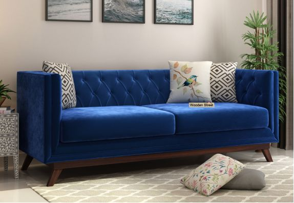 Berlin 3 Seater Sofa (Velvet, Indigo Blue)