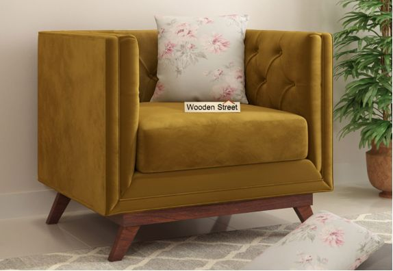 Berlin 1 Seater Sofa (Fabric, Chestnut Brown)