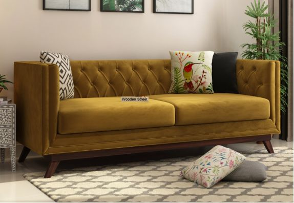 Fabric Sofa Online: Buy Berlin 3 Seater Sofa (Velvet, Chestnut Brown)