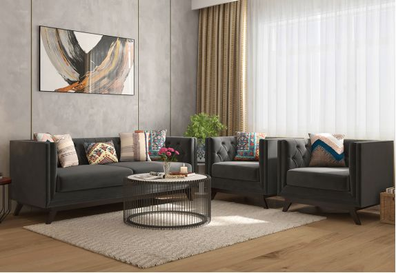 Berlin Fabric Sofa Set (Graphite Grey)