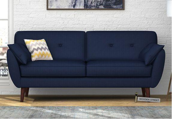 Angela 3 Seater Sofa (Cotton, Indigo Ink)