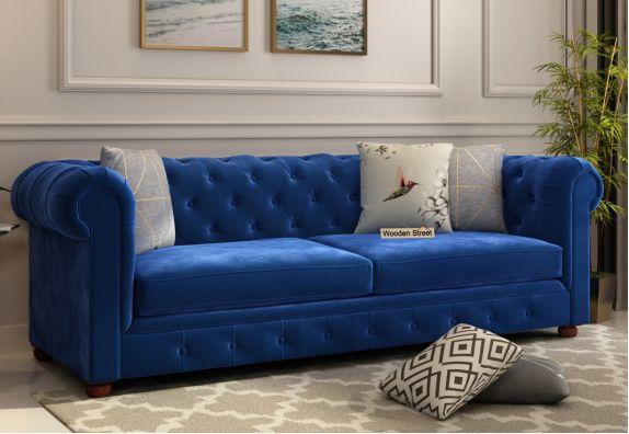 Fabric Couches: Henry 3 Seater Sofa (Velvet, Indigo Blue)