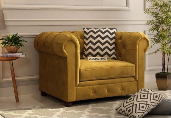 Henry 1 Seater Sofa (Velvet, Chestnut Brown)